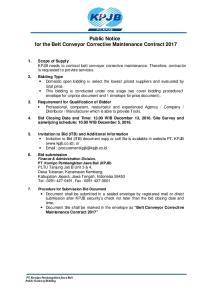 Public Notice for the Belt Conveyor Corrective Maintenance Contract 2017