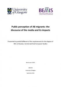 Public perception of A8 migrants: the discourse of the media and its impacts