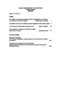 PUBLIC PROCUREMENT LAW REVIEW Table of Contents