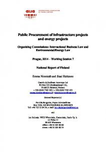 Public Procurement of infrastructure projects and energy projects