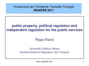 public property, political regulation and independent regulation for the public services Pippo Ranci