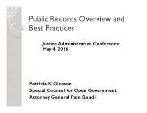 Public Records Overview and Best Practices