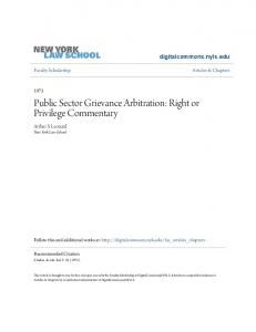 Public Sector Grievance Arbitration: Right or Privilege Commentary