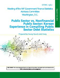 Public Sector vs. Nonfinancial Public Sector: Korean Experience in Compiling Public Sector Debt Statistics