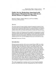 Public Service Reductions Associated with Placement of Homeless Persons with Severe Mental Illness in Supportive Housing