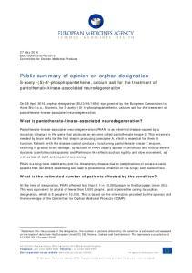 Public summary of opinion on orphan designation