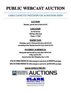 PUBLIC WEBCAST AUCTION
