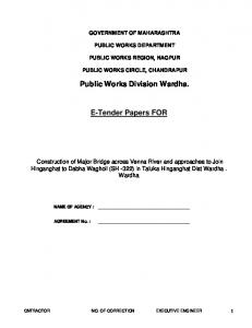 Public Works Division Wardha. E-Tender Papers FOR