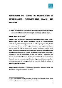 PUBLICACION DEL CENTRO DE INVESTIGACION DE ESTUDIO SAHAR PRIMAVERA 2014 Nro ISSN