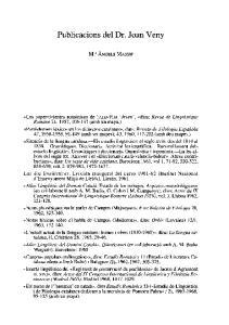 Publicacions del Dr. Joan Veny