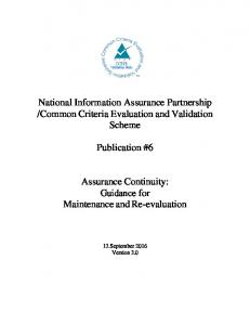 Publication #6. Assurance Continuity: Guidance for Maintenance and Re-evaluation