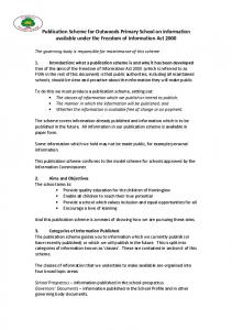 Publication Scheme for Outwoods Primary School on information available under the Freedom of Information Act 2000