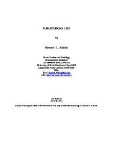 PUBLICATIONS LIST. for. Howard E. Aldrich