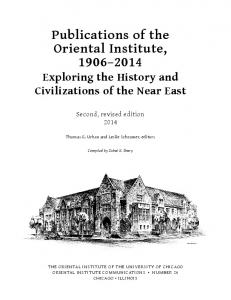 Publications of the Oriental Institute,