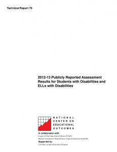 Publicly Reported Assessment Results for Students with Disabilities and ELLs with Disabilities