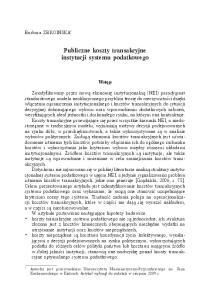 Publiczne koszty transakcyjne instytucji systemu podatkowego