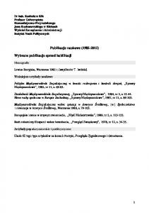 Publikacje naukowe ( )
