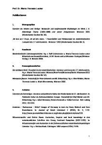 Publikationen. Prof. Dr. Maria-Theresia Leuker