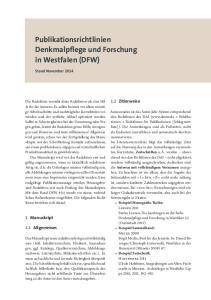 Publikationsrichtlinien Denkmalpflege und Forschung in Westfalen (DFW)