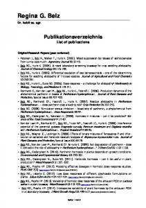 Publikationsverzeichnis List of publications