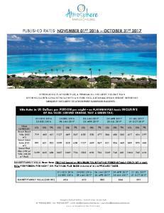 PUBLISHED RATES: NOVEMBER 01 ST 2016 OCTOBER 31 ST 2017