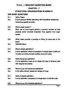 P.U.C. I BIOLOGY QUESTION BANK