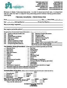 Pulmonary Consultation Patient History Form