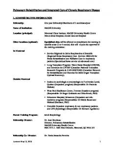 Pulmonary Rehabilitation and Integrated Care of Chronic Respiratory Disease