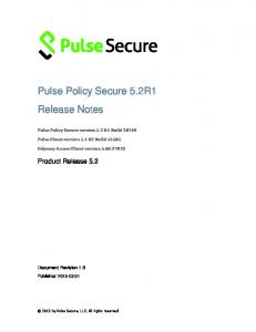 Pulse Policy Secure 5.2R1 Release Notes