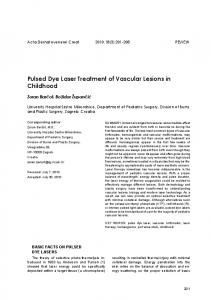 Pulsed Dye Laser Treatment of Vascular Lesions in Childhood