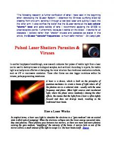 Pulsed Laser Shatters Parasites & Viruses