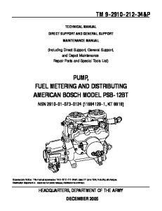 PUMP, FUEL METERING AND DISTRIBUTING AMERICAN BOSCH MODEL PSB-12BT