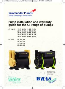 Pump installation and warranty guide for the CT range of pumps