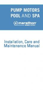 PUMP MOTORS POOL AND SPA. Installation, Care and Maintenance Manual