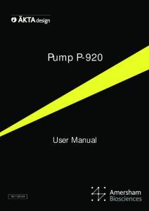 Pump P-920. User Manual