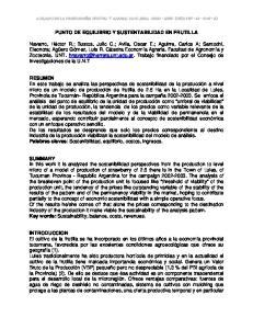 PUNTO DE EQUILIBRIO Y SUSTENTABILIDAD EN FRUTILLA