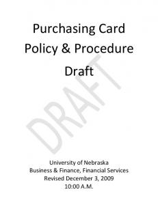 Purchasing Card Policy & Procedure Draft