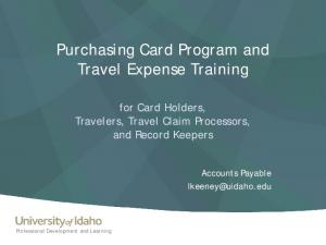 Purchasing Card Program and Travel Expense Training