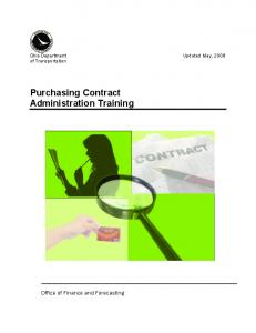 Purchasing Contract Administration Training