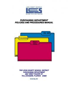 PURCHASING DEPARTMENT POLICIES AND PROCEDURES MANUAL