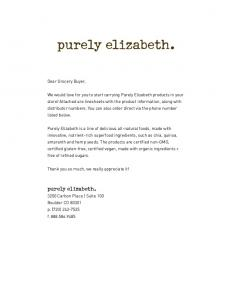 purely elizabeth. purely elizabeth. Dear Grocery Buyer,