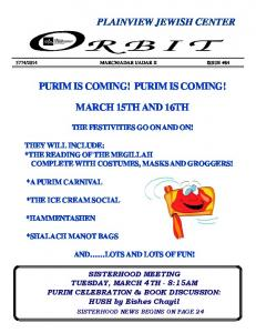 PURIM IS COMING! PURIM IS COMING! MARCH 15TH AND 16TH