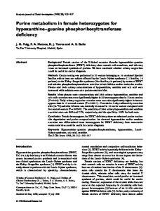 Purine metabolism in female heterozygotes for hypoxanthine guanine phosphoribosyltransferase deficiency