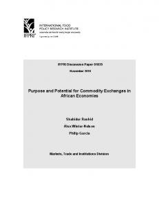 Purpose and Potential for Commodity Exchanges in African Economies