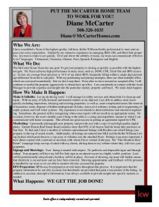 PUT THE MCCARTER HOME TEAM TO WORK FOR YOU! Diane McCarter