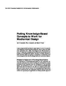 Putting Knowledge-Based Concepts to Work for Mechanical Design