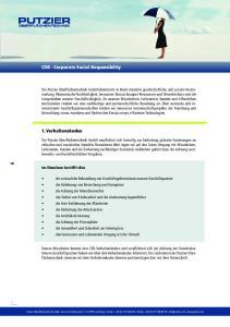 PUTZIER. CSR - Corporate Social Responsibility. 1. Verhaltenskodex
