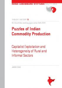 Puzzles of Indian Commodity Production
