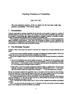 Puzzling Problems in Probability