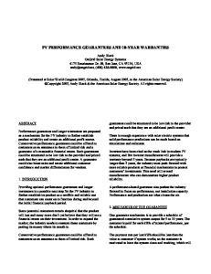 PV PERFORMANCE GUARANTEES AND 10-YEAR WARRANTIES